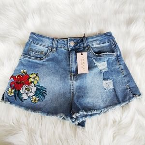 New high waisted floral embroidery cutoff shorts